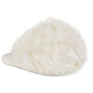 INC Fluffy Fur Scuff Slides Slippers Ivory Gold Lg